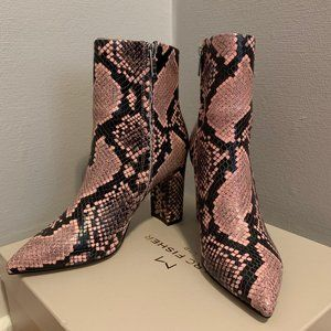 NIB Marc Fisher Ulani Pointy Pink Croc Bootie 6